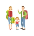 Family With Backpacks Preparing For Hike vector image