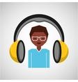 headphones music cartoon guy glasses vector image