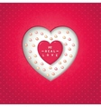 Red heart in cut heart with pearl vector image