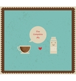 retro valentines card with coffee and milk vector image