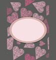 template for postcardinvitation with hearts vector image