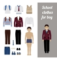 Create school boy kit with different uniforms vector image