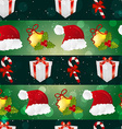 New year pattern with Santa hat gift Christmas vector image