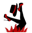 beautiful cabaret dancer with red shoes and hat vector image