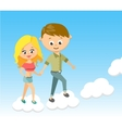 Cute Cartoon Boy and Girl With Love Walking on vector image