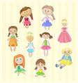 cute female dolls set lovely toys for little vector image