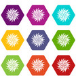 Flower icon set color hexahedron vector image