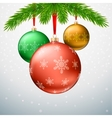 Greeting card with Christmas balls fir tree vector image