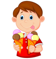 Little boy cartoon with ice cream vector image