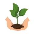 plant with hands human vector image