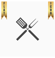 Barbecue utensils flat icon vector image