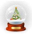 Realistic christmas snow globe vector image