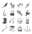 Fishing set icons in monochrome style Big vector image