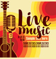 banner for concert live music with guitar and mic vector image