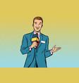 joyful tv reporter with microphone vector image