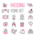 Outline wedding day marriage icons set of icons vector image