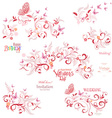 Collection floral elements with flying butterflies vector image
