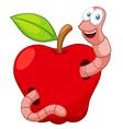 Cartoon Worm In Apple vector image