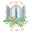Window with flowers card - retro design vector image
