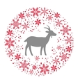 Winter Christmas Round Wreath with Snowflakes and vector image