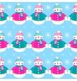 Seamless christmas cute funny snowmen vector image
