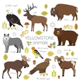 Yellowstone National Park animals set grizzly vector image