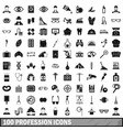 100 profession icons set simple style vector image