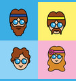 set people hippie with hairstyle and glasses vector image