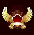 red shield with golden wings vector image vector image