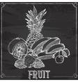 bananas lemon strawberry cherry pineapple drawing vector image
