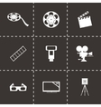black cinema icons set vector image