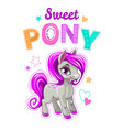 Cute cartoon little horse with purple hair vector image