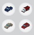isometric automobile set of auto suv freight and vector image