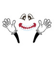 joyful smiley face with hands gesture vector image