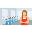 Personal fitness trainer woman in gym vector image