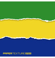 Set of lacerated bright papers in Brazil flag colo vector image