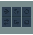 Simple grey stamp flat arrow icons set Web vector image
