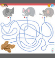 maze game with elephant characters vector image