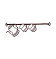 A cups are hanging a rack vector image vector image