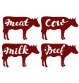 cow llustration sketch set logo vector image