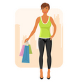 girl with purchases goes around city vector image vector image