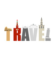 Travel Attractions and letters Structure of vector image
