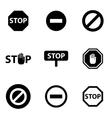black stop icon set vector image