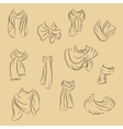 Collection of realistic scarves Fashionable vector image