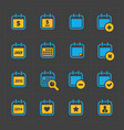 colorful calendar icons on dark vector image