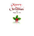 Merry Christmas card with holly on white vector image