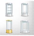 round empty glass showcase podium set with vector image