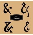 set of vintage hand lettered ampersands vector image