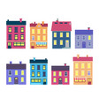 collection of colourful xmas buildings on white vector image