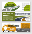 road travel or construction company banners vector image vector image